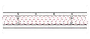 Obliczenia iprzekroje budowlane - isofloc f - sciany - sciana szkieletowa - konstrukcja drewniana przekroj dwuteowy - warstwa izolacji wdmuchnieta miedzy konstrukcyjne profile drewniane - elewacja wentylowana - derowerk