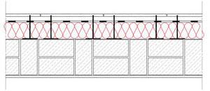 Obliczenia iprzekroje budowlane - isofloc f - sciany - sciana warstwowa - warstwa konstrukcyjna zcegly kratowki - warstwa izolacji isofloc f nazewnatrz - elewacja wentylowana mocowana nakotwach - derowerk