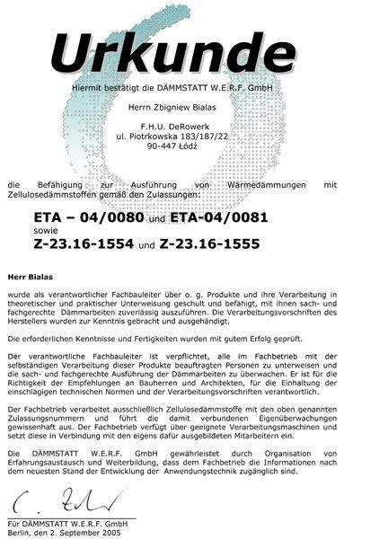 Swiadectwo kwalifikacyjne - Urkunde Bialas 2005 - dokument termomodernizacja - pdf - derowerk