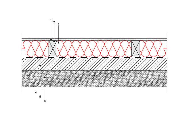 Docieplenie budynku - Podłoga P1 - podloga na gruncie - legary drewniane o przekroju prostokatnym - warstwa izolacji wdmuchnieta miedzy legary - derowerk