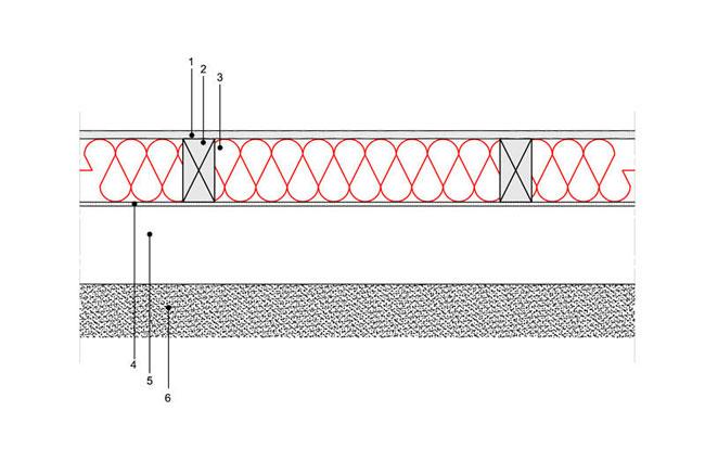 Docieplenie budynku - Podłoga P3 - podloga nagruncie - legary drewniane oprzekroju prostokatnym - przestrzen wentylowana podpodloga - warstwa izolacji wdmuchnieta miedzy legary - derowerk