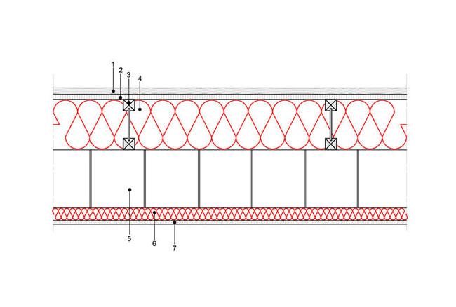 Docieplenie budynku - Podłoga P4 - podloga nad przestrzenia nieogrzewana - legary drewniane dwuteowe - strop gestozebrowy - warstwa izolacji wdmuchnieta miedzy legary - warstwa izolacji natrysnieta na strop - derowerk