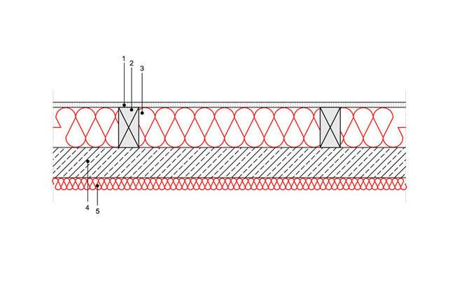 Docieplenie budynku - Podłoga P5 - podloga nadprzestrzenia nieogrzewana - legary drewniane oprzekroju prostokatnym - strop zelbetowy - warstwa izolacji wdmuchnieta miedzy legary - warstwa izolacji natrysnieta nastrop - derowerk