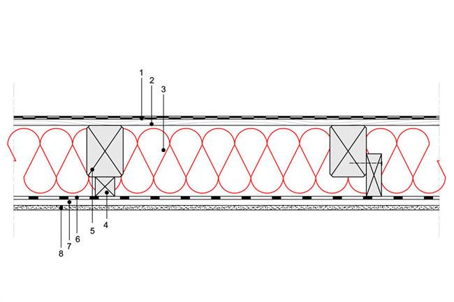 Obliczenia iprzekroje budowlane - isofloc f - dachy - dach niewentylowany - pokrycie bitumiczne - krokwie oprzekroju prostokatnym - zwiekszona grubosc izolacji isofloc f (kantowki, boczne nakladki) - D8 - derowerk