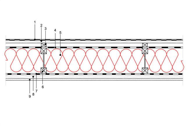 Obliczenia iprzekroje budowlane - isofloc f - dachy - dach wentylowany - pokrycie bitumiczne - krokwie dwuteowe - D3 - derowerk