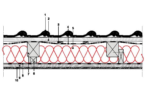Obliczenia iprzekroje budowlane - isofloc f - dachy - dach wentylowany - pokrycie ceramiczne - krokwie oprzekroju prostokatnym - zwiekszona grubosc izolacji isofloc f (kantowki, boczne nakladki) - D6 - derowerk