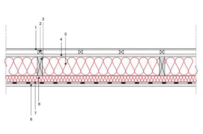 Obliczenia iprzekroje budowlane - isofloc f - sciany - sciana szkieletowa - konstrukcja drewniana przekroj prostokatny - warstwa izolacji wdmuchnieta miedzy konstrukcyjne profile drewniane istelaz doplyt g-k - S1 - derowerk