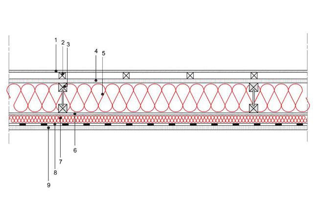 Obliczenia iprzekroje budowlane - isofloc f - sciany - sciana szkieletowa - konsturkcja drewniania przekroj dwuteowy - warstwa izolacji wdmuchnieta miedzy konstrukcyjne profile drewniane - warstwa izolacji natrysnieta naplyte OSB - S2 - derowerk
