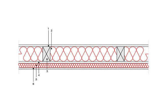 Ocieplenia poddaszy - Strop ST1 - Pod poddaszem nieogrzewanym - podloga na belkach drewnianych prostokatny - warstwa izolacji wdmuchnieta miedzy belki - derowerk