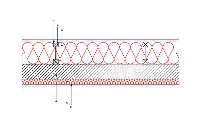 Ocieplenia poddaszy - Strop ST2 - podpoddaszem nieogrzewanym - podloga nadwuteowych legarach drewnianych - warstwa izolacji isofloc f wdmuchnieta miedzy legary - strop zelbetowy - warstwa izolacji isofloc f natrysnieta nastrop - derowerk