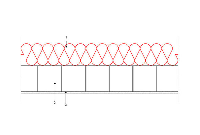 Ocieplenia poddaszy - Strop ST3 - podpoddaszem nieogrzewanym - warstwa izolacji isofloc F ukladana swobodnie nastropie - strop gestozebrowy - derowerk
