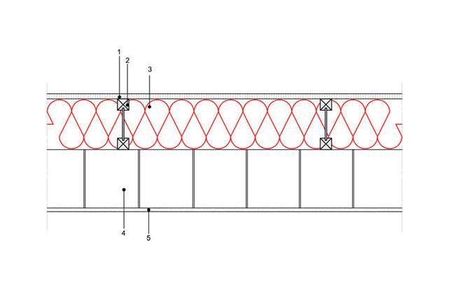 Ocieplenia poddaszy - Strop ST4 - pod poddaszem nieogrzewanym - podloga na dwuteowych legarach drewnianych - warstwa izolacji wdmuchnieta miedzy legary - strop gestozebrowy - derowerk
