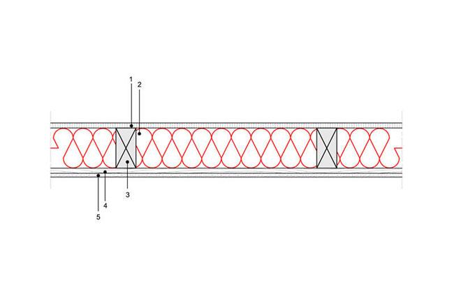 Ocieplenia poddaszy - Strop ST5 - pod poddaszem nieogrzewanym - podloga na belkach drewnianych - warstwa izolacji wdmuchnieta miedzy belki drewniane - derowerk
