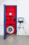 Szczelność powietrzna budynku – Test Blower Door - Urządzenie Blower-Door zainstalowane wotworze drzwiowym - Derowerk
