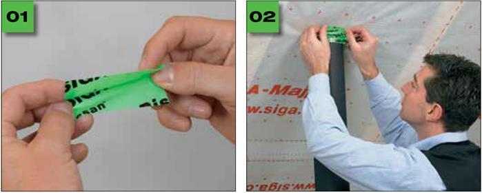 Rissan 60 - Jednostronna, elastyczna taśma douszczelniania przejść rur, kabli itp. przezwarstwę izolacji parochronnej - uszczelnianie przejsc kabli irur - derowerk