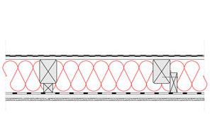 Obliczenia i przekroje budowlane dachy - dach niewentylowany - pokrycie bitumiczne - krokwie o przekroju prostokatnym - zwiekszona grubosc izolacji isofloc f (kantowki, boczne nakladki) - derowerk