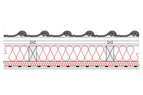 Obliczenia i przekroje budowlane dachy - dach wentylowany - pokrycie ceramiczne - krokwie o przekroju prostokatnym - warstwa izolacji wdmuchnieta miedzy krokwie i stelaz do plyt g-k - derowerk