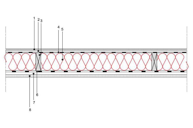 obliczenia i przekroje budowlane sciany sciana szkieletowa konstrukcja drewniana przekroj prostokatny warstwa izolacji wdmuchnieta miedzy konstrukcyne profile drewniane s4 derowerk