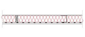 Obliczenia i przekroje budowlane sciany - wewnetrzna sciana szkieletowa - konstrukcja drewniana lub stalowa - pomiedzy pomieszczeniem ogrzewanym i nieogrzewanym - derowerk