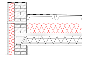 Obliczenia i przekroje budowlane stropodachy - stropodach wentylowany - warstwa izolacji ukladana swobodnie na stropie - strop gestozebrowy - przekrycie plytkami korytkowymi i papa - derowerk