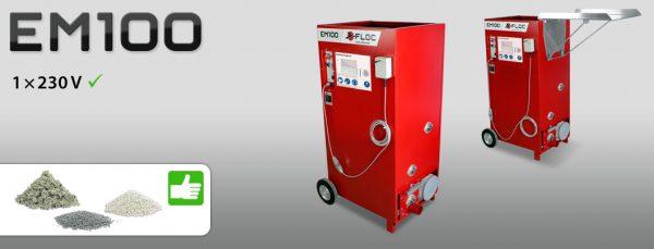 Maszyna wdmuchująca EM100 nadaje się do wdmuchiwania izolacji zarówno z celulozy, jak i waty szklanej oraz wełny mineralnej